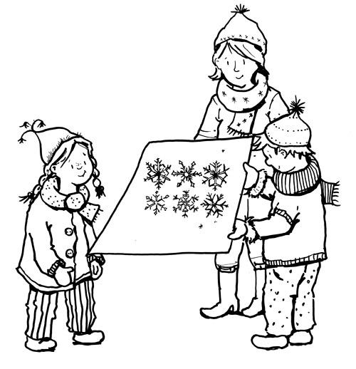 Kinder bestaunen Schneeflocken